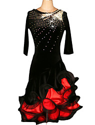 Latin Dance Dresses Women's Performance / Training Chinlon / Velvet Crystals/Rhinestones / Ruched