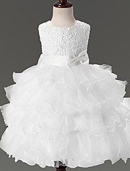 Princess Short / Mini Flower Girl Dress - Lace Organza Satin Jewel with Bow(s) Lace Cascading Ruffles