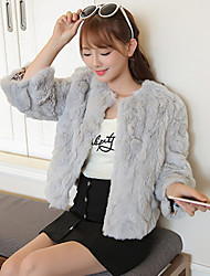 Women's Casual/Daily Simple Fur CoatSolid Asymmetrical  Sleeve Fall Multi-color Rex Rabbit Fur Medium