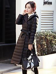 Women's Solid Black / Gray Down CoatSimple Hooded Long Sleeve