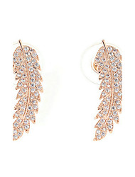 Earring Wings/Feather Stud Earrings Jewelry Women Fashion Wedding / Party Zircon / Gold Plated 1 pair Gold / Silver