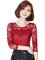 Spring Fall Plus Size Go out Casual Women's Tops Slim Was Thin Solid Color Round Neck Long Sleeve Lace Blouse
