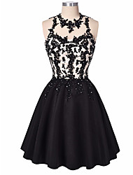 A-Line Jewel Neck Short / Mini Satin Cocktail Party Dress with Beading Appliques Lace