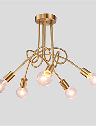 5 heads Copper Multiple rod Ceiling Dome lamp Creative Personality Retro Living Room Dining Room Ceiling light