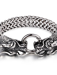 Cheap 316L Stainless Steel Link Chain Double Dragon Charm Bracelet High Polishing Men Accessory  For Boyfriend Christmas Gifts