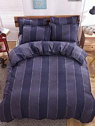 bedtoppings comforter edredão 4pcs colcha definir o tamanho da rainha folha plana pillowcas da listra escura microfibra