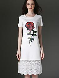 Eosciy® Damen Rundhalsausschnitt Kurze Ärmel Midi Kleid-41310