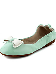 Women's Patent Leather Pull-on Round Closed Toe No-Heel Assorted Color Flats-Shoes