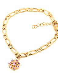 Fashion Flower Rhinestone Stainless Steel Figaro Link Chain Bracelets