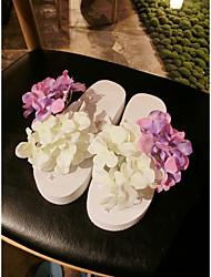Women's Slippers & Flip-Flops Summer / Fall Scuff PVC Casual Flat Heel Satin Flower White Others