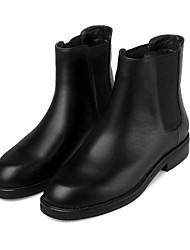 Women's Boots Fall Winter Leather Outdoor Chunky Heel Block Heel