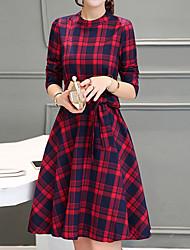 Women's Going out Street chic A Line Dress,Plaid Crew Neck Above Knee Long Sleeve Red / Gray Cotton / Polyester Fall