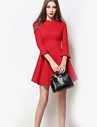Feminino Bainha Vestido,Formal Sofisticado Sólido Colarinho Chinês Acima do Joelho Manga ¾ Vermelho Poliéster Outono Cintura MédiaSem