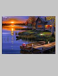 E-HOME® Stretched LED Canvas Print Art Lake Cottage Scenery LED Flashing Optical Fiber Print One Pcs