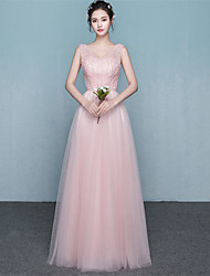Floor-length Satin / Tulle Bridesmaid Dress - Elegant Ball Gown V-neck with Beading / Bow(s) / Sash / Ribbon