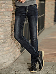 Men's Solid Casual JeansCotton Black