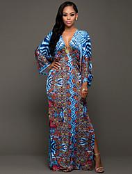 Women's Casual/Daily Vintage / Boho Sheath Dress Print V Neck Maxi Long Sleeve Split Backless Mid Rise Micro-elastic