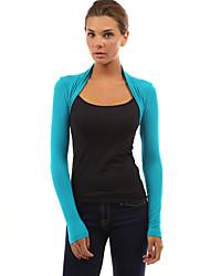 Damen Einfarbig Sexy / Einfach Ausgehen / Lässig/Alltäglich T-shirt,Rundhalsausschnitt Frühling / Herbst Langarm Blau / Rosa Polyester