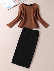 Damen Solide / Buchstabe Einfach Ausgehen T-shirt Rock Anzüge,Rundhalsausschnitt Sommer Langarm Braun Wolle Mittel