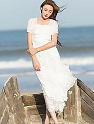 Ample Robe Femme Décontracté / Quotidien simple,Broderie Col Carré Mi-long Manches Courtes Blanc Polyester Eté Taille NormaleNon
