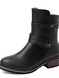 Women's Boots Winter Motorcycle Boots / Round Toe Dress Low Heel Zipper Black / Brown / Beige Others