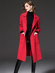 FRMZ  Work Simple CoatSolid Peaked Lapel Long Sleeve Winter Blue / Red / Black / Brown Wool / Polyester Medium