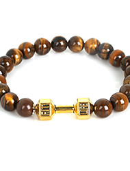 Beadia 1Pc Live Lift Dumbbell Bracelet 8mm Natural Tiger Eye Stone Beads Strand Bracelet Christmas Gifts