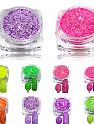 1Set Nail Cheese Glitter Dust Powder Nail Art Tips Pigment Decorations Nail Powder Dust for Women DIY SN01-08