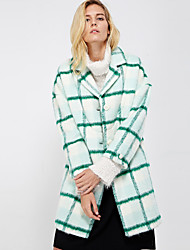 Women's Going out Street chic CoatPlaid Peaked Lapel Long Sleeve Winter Green Wool / Polyester Thick
