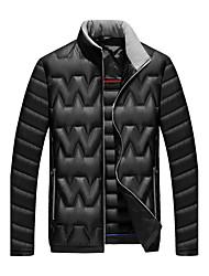 Men's Regular Down CoatPolyester / Nylon Solid Long Sleeve