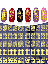 3D Gold Flowers Nail Stickers Decals Metallic Mixed Designs DIY Nail Art Decoration Tool
