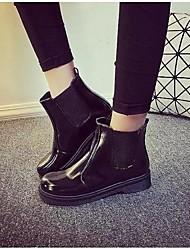 Черный-Женский-Для прогулок-Полиуретан-На плоской подошве-Военные ботинки-Ботинки