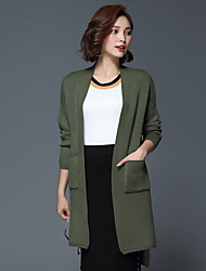 Women's Going out / Casual/Daily / Formal Simple CoatSolid V Neck Long Sleeve Spring / Winter Black
