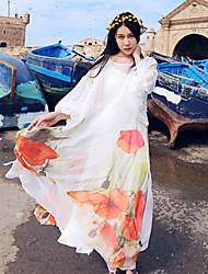Whisper Wheat Women's Going out /  Shift DressPrint Round Neck Maxi Long Sleeve White Silk Summer Mid Rise Inelastic