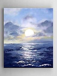 Hand Painted Oil Painting Landscape Blue Beach Sunrise Scenery Office Decor with Stretched Frame