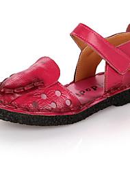 Mädchen-Sandalen-Outddor-Leder-Flacher Absatz-Sandalen-Rot / Pfirsich