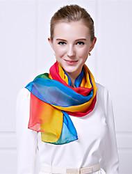 Women Summer Casual Gradient Color Rainbow Chiffon Solid Color Royal  Silk Beach Towels Scarf Shawl
