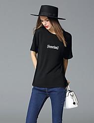 frmz sortir simples t-shirtletter été col rond manches courtes milieu de lin noir