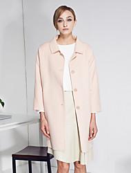 c + impressionner femmes sortir simples coatsolid col claudine manches longues laine hiver rose épaisse