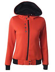 Normal Hoodies Femme Décontracté / Quotidien / Sportif simple / Actif,Couleur Pleine Bleu / Rouge / Vert / Orange Capuche Manches Longues