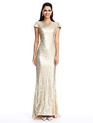 2017 TS Couture® Formal Evening Dress Sheath / Column Scoop Ankle-length Georgette with Crystal Brooch