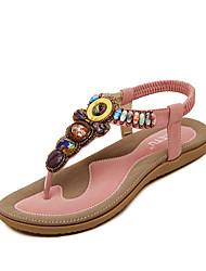 Women's Sandals Summer Sandals Flat Heel Rhinestone Black / Blue / Pink / Almond