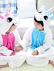Kigurumi Pajamas Unicorn Leotard/Onesie Festival/Holiday Animal Sleepwear Halloween Pink Blue Patchwork Flannel Kigurumi For KidHalloween