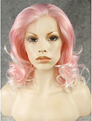 IMSTYLE 16 Natural Looking Beautiful Wave Pink White Mix Synthetic Lace Front Wig
