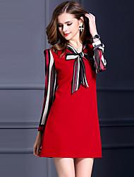 Ample Robe Femme Grandes Tailles Décontracté / Quotidien simple,Couleur Pleine Col en V Au dessus du genou Manches Longues Rouge Noir