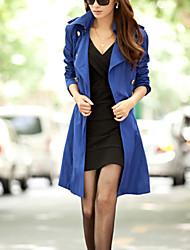 Women's Solid Blue / Red / Black / Orange / Beige Trench Coat , Plus Sizes Long Sleeve Cotton / Polyester / Nylon COAT2