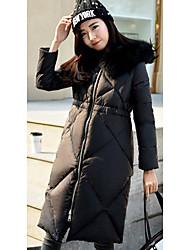 Women's Solid Pink / Gray CoatSimple Hooded Long Sleeve