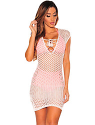 Women's Lace up|Lace Beach / Holiday Sexy Sheath DressSolid V Neck Mini Short Sleeve White / Black Polyester / Spandex Summer