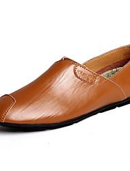 Herren-Flache Schuhe-Büro Lässig-Leder-Flacher AbsatzSchwarz Braun Weiß