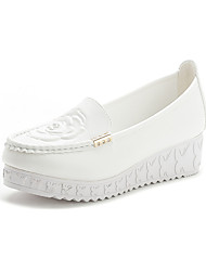 Women's Loafers & Slip-Ons Fall Platform Leatherette Casual Wedge Heel Platform Others Pink White Other